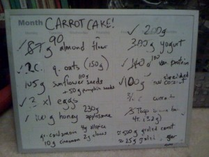 carrot cake recipe board